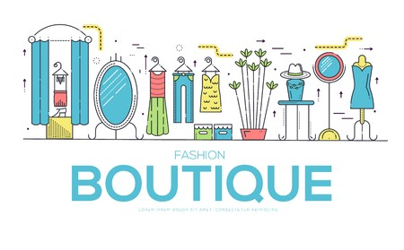 Flat seller standing in boutique with different stylish fashionable clothes.  Fashionable clothes in boutique vector illustrator vector concept.