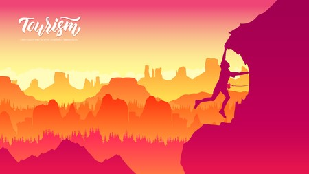 Travel Lifestyle wanderlust adventure concept summer vacations outdoor alone into the wild. People helping each other hike up a mountain at sunrise Illustration
