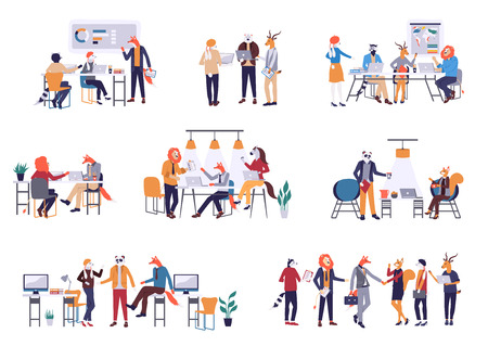 Colorful set in flat cartoon style. Collection of scenes at office vector illustration. Bundle of men and women taking part in business meeting, negotiation, brainstorming, talking to each other. Vektorgrafik
