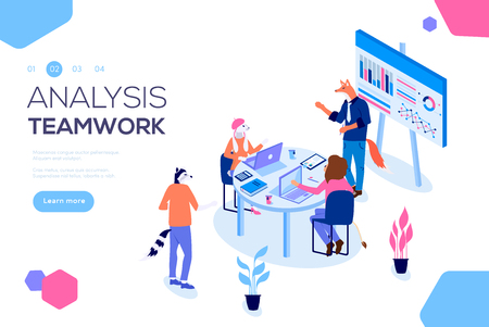 Collaboration concept with collaborative people vector. Project management and financial report strategy. Flat isometric characters. Consulting team. Isometric business analysis planning illustration.