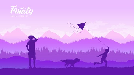 Happy family father and child daughter launch a kite on nature at sunset illustration design concept