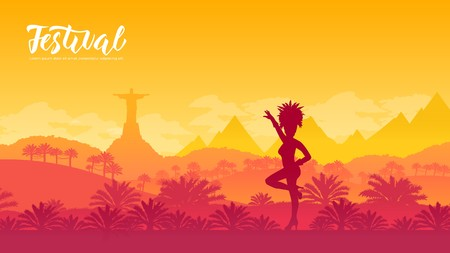Brazil Carnival vector banner template. Rio De Janeiro flat illustration with text space. Traditional festival. Minimalistic landscape. Female dancer silhouette. Panoramic view travel postcard design