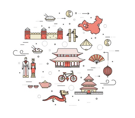 Country China travel vacation guide of goods, places in thin lines style design. Set of architecture, fashion, people, nature background concept. Infographic template for web and mobile on vector flat.