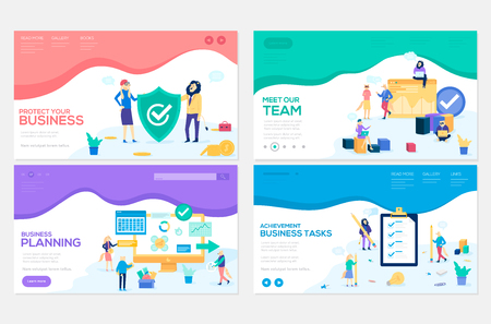 Business school website templates set. Business protection, insurance coaching vector landing page. Time management seminar web banner with copyspace. Teamwork. Cartoon characters with animals heads