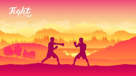 Box warriors martial arts of different Nations of the world. Traditional fights without weapons background. Fighting style battle template layout modern slider Ilustração