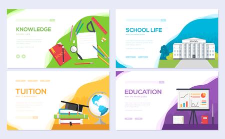 Back to school information brochure card set. Student template of flyear, web banner, ui header, enter site. Layout invintation modern Foto de archivo - 123046198