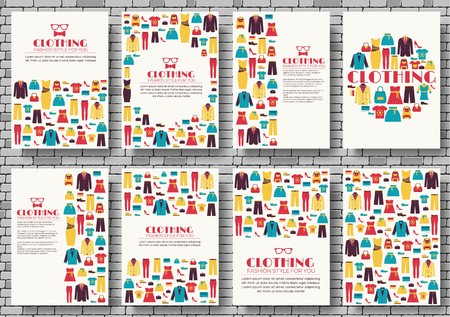 Clothes vector brochure cards set. Print art template of flyer, magazines, posters, book cover, banners. Colorful design invitation concept background. Layout shop illustrations modern .