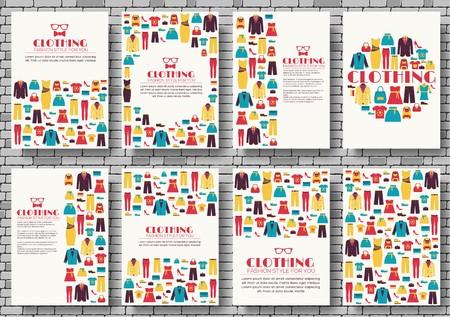 Set di carte brochure vettore vestiti. Stampa modello artistico di volantini, riviste, poster, copertine di libri, striscioni. Fondo variopinto di concetto dell'invito di progettazione. Layout negozio illustrazioni moderne.