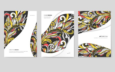 Abstract vector brochure cards set. Print art template of flyear, magazines, posters, book cover, banners. Colorful design invitation concept background. Layout ornament illustrations modern Ilustração