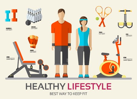 Sport life stile infographic with gym device, equipment and items. Training apparatus on a flat design style. Vector illustration workout concept icons set.