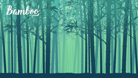 Foresta di bambù al mattino. Foresta di Arashiyama, Kyoto, Giappone. Paesaggio di albero di bambù nella foresta pluviale tropicale, Malaysia. Concetto di design degli sfondi della pagina di destinazione del modello Vettoriali