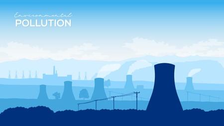 Torre de enfriamiento del concepto de ilustración de diseño de planta de energía nuclear