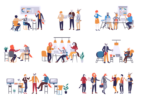 Colorful set in flat cartoon style. Collection of scenes at office vector illustration. Bundle of men and women taking part in business meeting, negotiation, brainstorming, talking to each other.