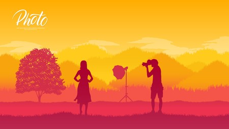 A photographer with equipment makes a photo session with models in nature concept. Take pictures or shoot video in the wild life design Vektorové ilustrace