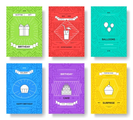happy birthday set infographics template concept. Icons for your product or design, web and mobile applications. Vector flat with long shadow illustration on blue background.