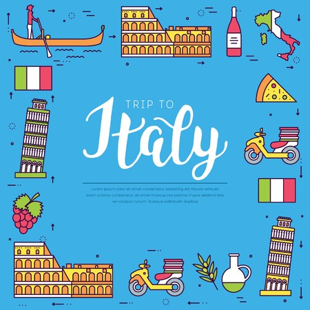 Country Italy travel vacation guide of goods, place and feature. Set of architecture, fashion, people, item, nature background concept. Infographic traditional ethnic flat, outline, thin line icon Illustration