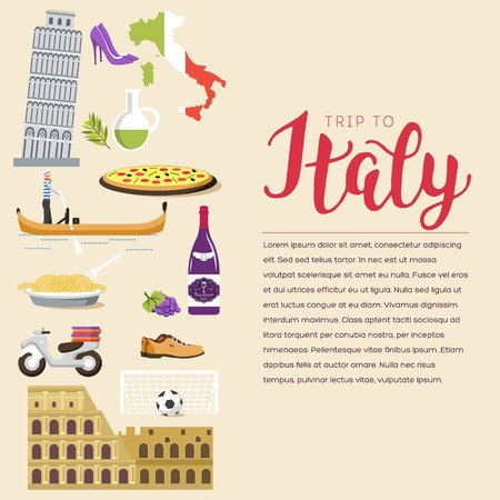 Country Italy travel vacation guide of goods, places and features. Set of architecture, fashion, people, items, nature background concept. Infographic template design for web and mobile on flat style