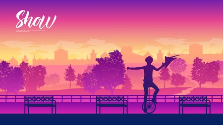 performer balances on a unicycle on street landscape background