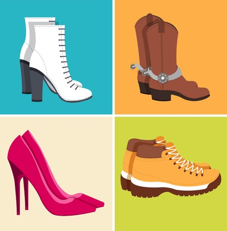 flat illustration set of shoe equpment backgrounds. Vector illustration elements icons. Colorful template for you web and mobile applications