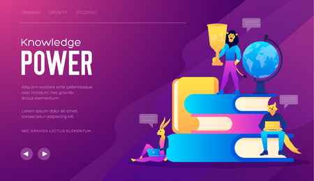 Flat design style web banner for the power of education. Vector illustration concept for web design, marketing. Knowledge Is The Path To Success. Illustration for power of knowledge