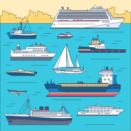 Set of thin line ship flat yacht, scooter, cargo, steamship, ferry, fishing boat, tug, bulk carrier, vessel, pleasure, cruise with sea background concept. Vector outline illustration. Illustration