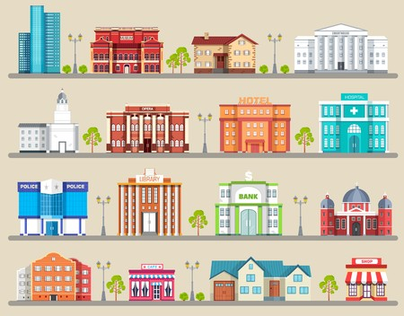Flat colorful vector city buildings infographic Icon background concept design. Architecture construction: courthouse, home, museum, skyscraper, hospital, hotel, opera, theater. Vector urban landscape. Illustration