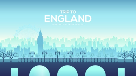 Big England bridge on the landscape background of the city concept. Urban vector illustration