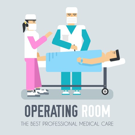Doctor with nurse operate on a patient. Flat vector background concept. Hospital surgery room illustration design