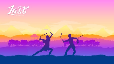 Martial arts of different Nations of the world. Traditional fights with weapon background. Fighting style battle template layout modern slider Vector Illustration