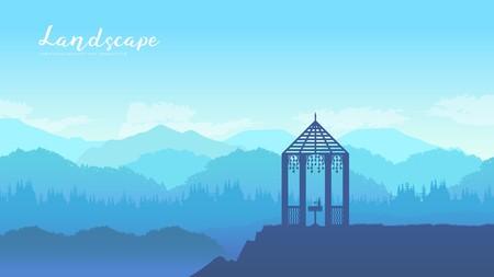 Gazebo al aire libre en tarjeta de folleto de vector de paisaje de naturaleza. Lugar romántico en el diseño de fondos de pantalla de la página de tierra de la plantilla de la salida del sol. concepto de invitación de estilo de vida. Diseño de diseño moderno