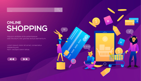 Smart phone online shopping ecommerce concept. Online store, shopping cart illustration. Online shopping or e-commerce. Internet store payment procedure concept with smartphone and gift box