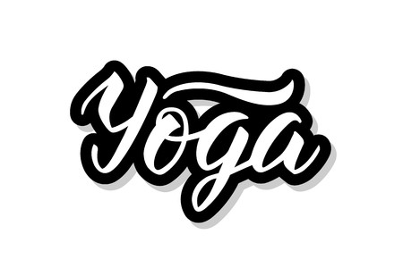 Yoga calligraphy template text for your design illustration concept. Handwritten lettering title vector words on white isolated Illustration
