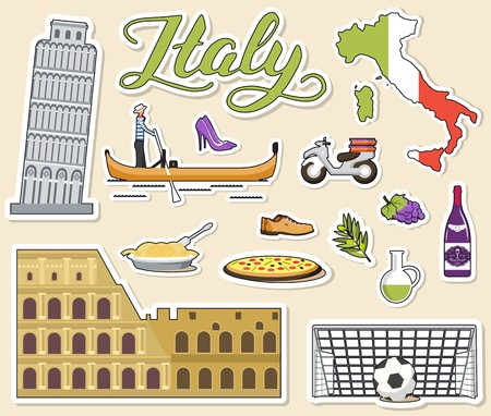 Country Italy travel vacation guide of goods, places and features. Set of architecture, fashion, people, items, nature background concept. template design sticker flat style