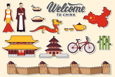 Country China travel vacation guide of goods, places and features. Set of architecture, fashion, people, items, nature background concept. Infographic template design for web and mobile on flat style.
