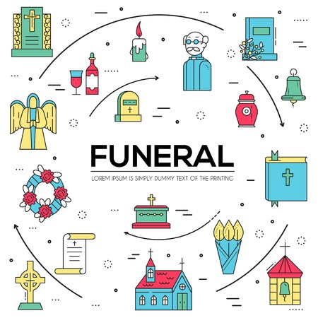 Cemetery with different graves and small Christian church in sunny day. Layout modern vector background illustration design concept