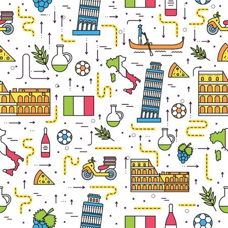 Country Italy travel vacation guide of goods, places and features. Set of architecture, fashion, people, items, nature outline concept. Seamless pattern template design thin line style