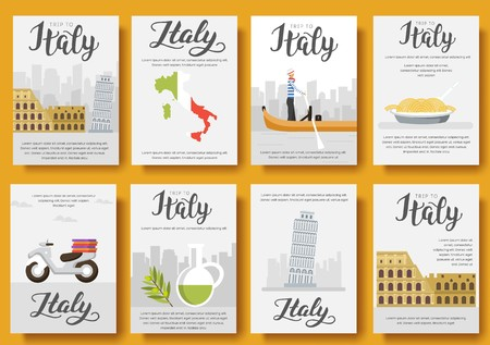Italy vector brochure cards flat set. Country travel template of flyear, magazines, posters, book cover, banners. Layout culture monument illustrations modern pages Illusztráció