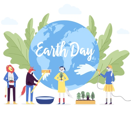 little character prepare for the day of the Earth concept. Save the planet, save energy, the hour of the Earth design. Earth day vector flat