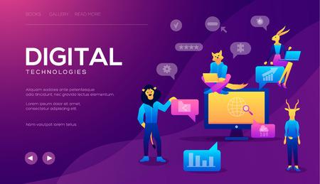 Concepto de agencia de marketing digital, campaña de medios digitales. Marketing digital para banner y sitio web. Plantilla de página de destino isométrica. Análisis de negocio, estrategia y gestión de contenidos Ilustración de vector
