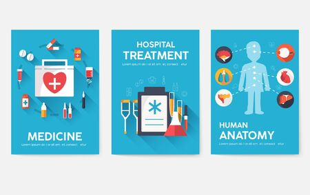 Medicine information cards set. Medical template of flyear, magazines, posters, book cover. Clinical infographic concept on blue background. Layout illustrations template pages with typography text  イラスト・ベクター素材