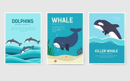Set of Sea mammals pattern concept. Art animal, magazine, book, poster, abstract, banners, element. Vector fish in ocean life package greeting card or invitation brochure design Ilustracja
