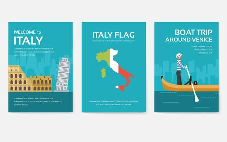 Set of Italy country ornament travel tour concept. Asia traditional, magazine, book, poster, abstract, element. Vector decorative ethnic greeting card or invitation design background Иллюстрация