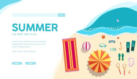 Summer holiday vacation vector landing page template