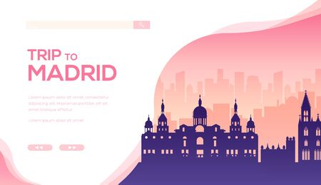 Silhouette of sightseeing attractions of Madrid.