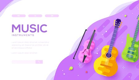Musical instruments: violin, guitar on violet. Vectores
