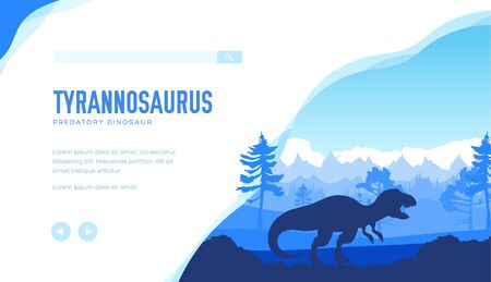 Tyrannosaurus on nature background with rocks, trees. Ilustrace