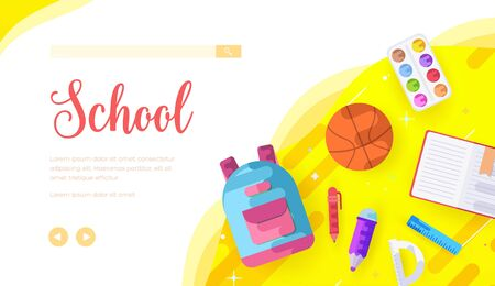 School vector landing page template. College subjects web banner with text space. University website homepage design. Afterschool activities cartoon illustration. Office supplies, stationery Vector Illustration