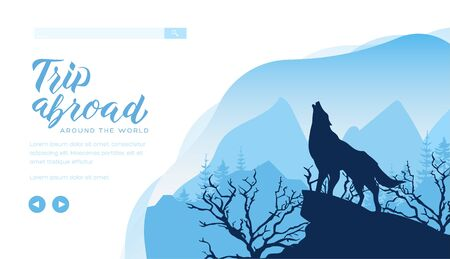 Silhouette of wolf howling to the moon on rock.
