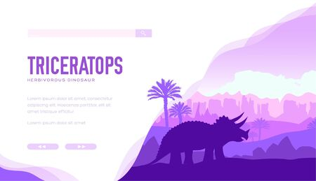 Triceratops on nature background with rocks, palmtrees.