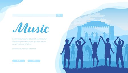 Open air musical festival with fans and musicians. Illustration